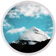 Holy Kailas Himalayas Mountain Tibet Yantra.lv Round Beach Towel