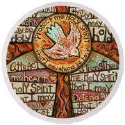 Holy Spirit Prayer By St. Augustine Round Beach Towel
