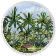 Round Beach Towel featuring the painting Home Bali Ubud Indonesia by Melly Terpening