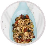 Homemade Granola In Spoon Round Beach Towel