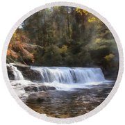 Hooker Falls Round Beach Towel by Ricky Dean