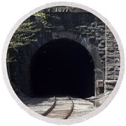 Hoosiac Train Tunnel Round Beach Towel by Catherine Gagne