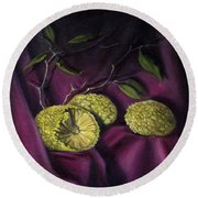 Round Beach Towel featuring the painting Horseapples On Velvet by Randol Burns