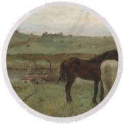 Horses In A Meadow Round Beach Towel