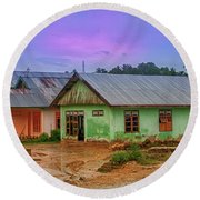 Round Beach Towel featuring the photograph Houses by Charuhas Images
