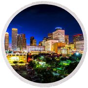 Round Beach Towel featuring the photograph Houston City Lights by David Morefield
