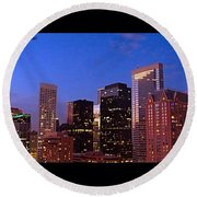 #houston #skyline At Dusk. #night Round Beach Towel