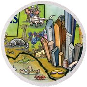 Houston Texas Cartoon Map Round Beach Towel