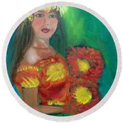 Hula 1 Round Beach Towel