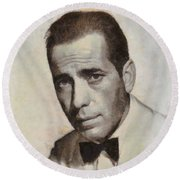Humphrey Bogart Vintage Hollywood Actor Round Beach Towel by John Springfield