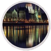 Round Beach Towel featuring the painting Hungarian Parliament By Night by Odon Czintos