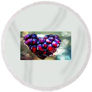 Round Beach Towel featuring the painting I Heart You by Genevieve Esson