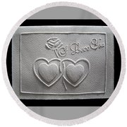 Round Beach Towel featuring the relief I Love You by Suhas Tavkar