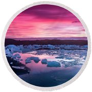 Iceberg In Jokulsarlon Glacial Lagoon Round Beach Towel by Joe Belanger