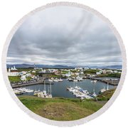 Iceland Fisherman Harbor Round Beach Towel