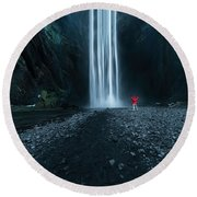 Iceland Waterfall Round Beach Towel