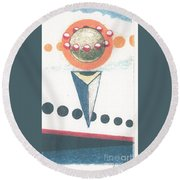 Round Beach Towel featuring the drawing Idea Ismay by Rod Ismay