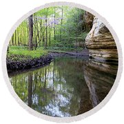 Illinois Canyon In Spring Round Beach Towel