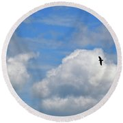 Round Beach Towel featuring the photograph In Flight by Tara Potts