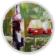 In Vino Veritas. Wine Collection Round Beach Towel