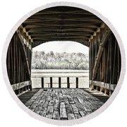Inside The Covered Bridge Round Beach Towel