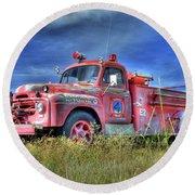 International Fire Truck 2 Round Beach Towel