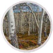 Into The Trees Round Beach Towel