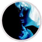 Inverted Realities - Blue  Round Beach Towel