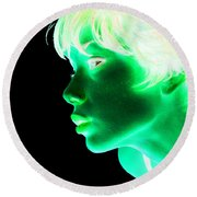 Inverted Realities - Green  Round Beach Towel