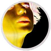 Inverted Realities - Yellow  Round Beach Towel