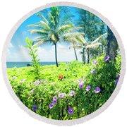 Round Beach Towel featuring the photograph Ipomoea Keanae Morning Glory Maui Hawaii by Sharon Mau