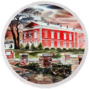 Iron County Courthouse II Round Beach Towel