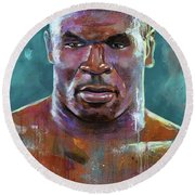 Round Beach Towel featuring the painting Iron Mike by Robert Phelps