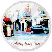 Italian City Street Scene Digital Art Round Beach Towel