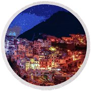 Italy, Manarola At Night Round Beach Towel