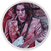 Round Beach Towel featuring the drawing Jack White by Joshua Morton