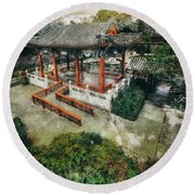 Round Beach Towel featuring the photograph Jade Garden by Wayne Sherriff