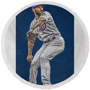 Jake Arrieta Chicago Cubs Art Round Beach Towel by Joe Hamilton