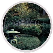 Round Beach Towel featuring the photograph Japanese Garden In Summer by Iris Greenwell