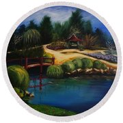 Japanese Gardens - Original Sold Round Beach Towel by Therese Alcorn