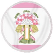 Japanese Newyear Decoration Round Beach Towel