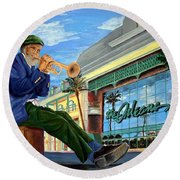 Jazz At The Orleans Round Beach Towel by Vicki  Housel