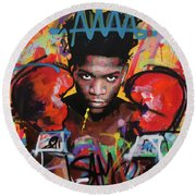 Jean Michel Basquiat Round Beach Towel
