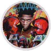Jean Michel Basquiat Round Beach Towel by Richard Day