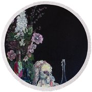 Round Beach Towel featuring the painting Jenibelle by Jane Autry