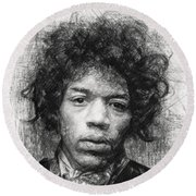 Round Beach Towel featuring the drawing Jimi Hendrix by Taylan Apukovska