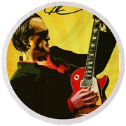 Joe Bonamassa Round Beach Towel by Semih Yurdabak