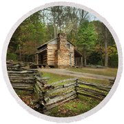 John Oliver Cabin Cades Cove Round Beach Towel