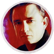 Johnny Cash, Music Legend Round Beach Towel