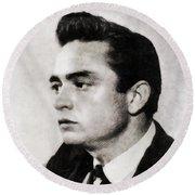 Johnny Cash, Singer Round Beach Towel